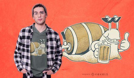 Diseño de camiseta de cerveza caracol