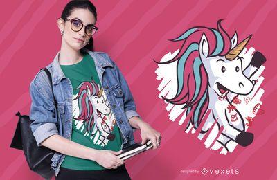 Diseño de camiseta de unicornio de San Valentín