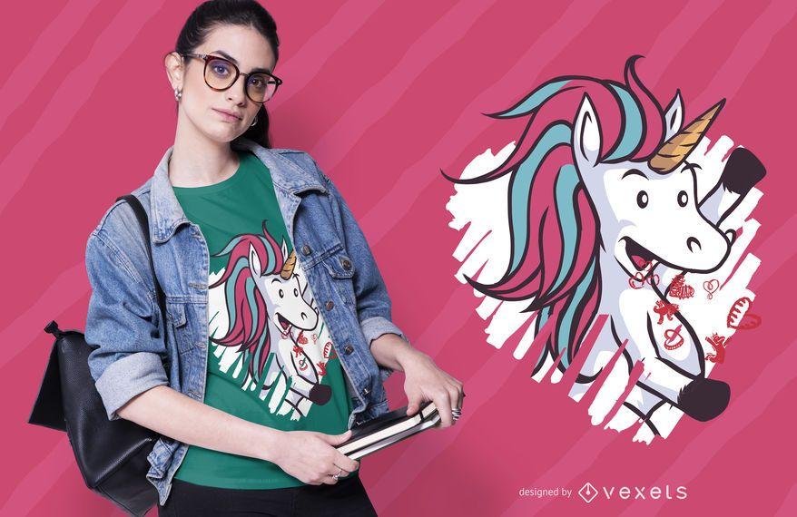 Design de t-shirt de unicórnio dia dos namorados