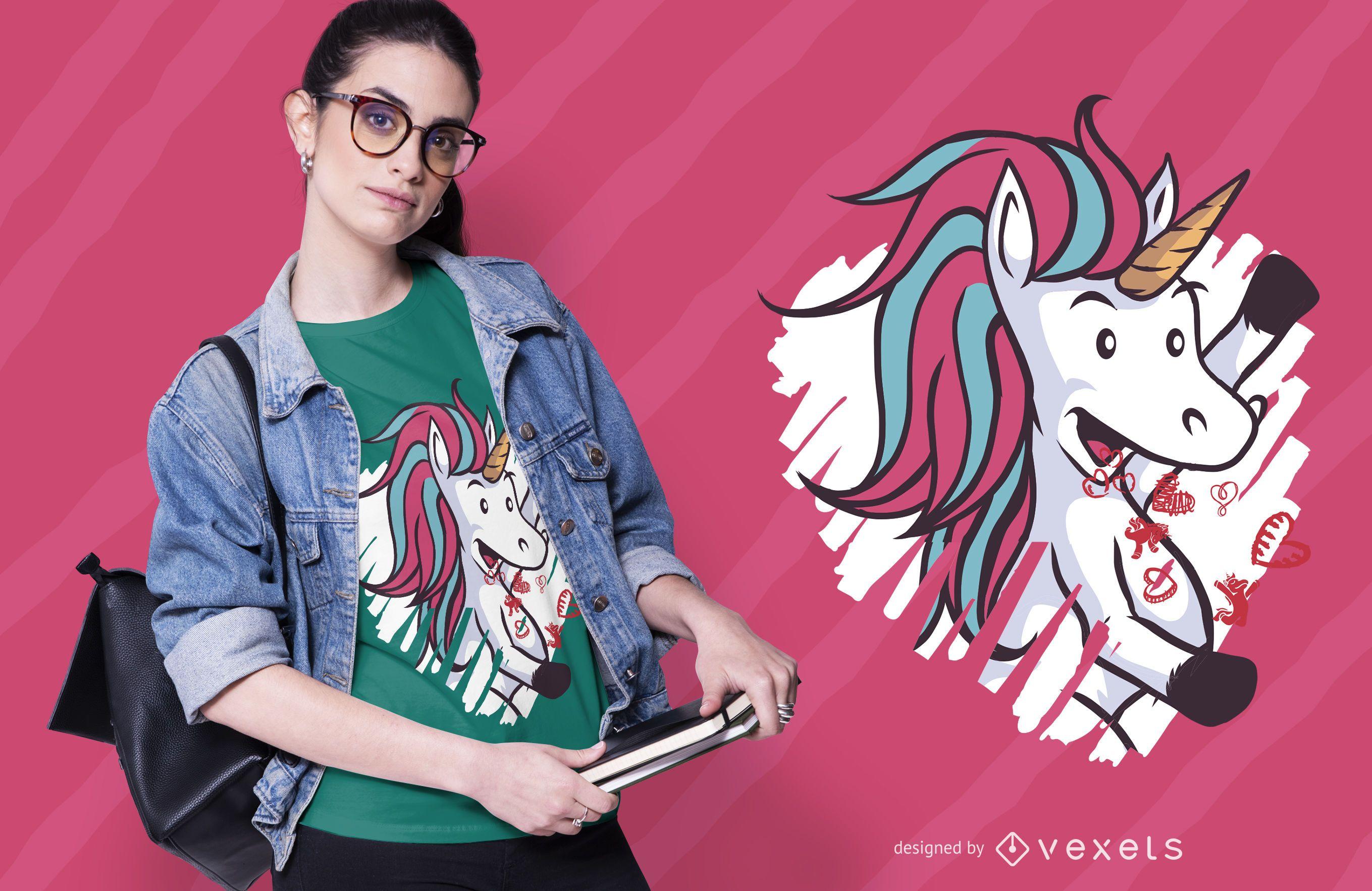 Valentines unicorn t-shirt design