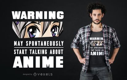 Diseño de camiseta de advertencia de anime