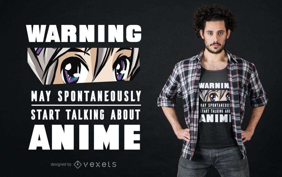 Design de t-shirt de aviso de anime