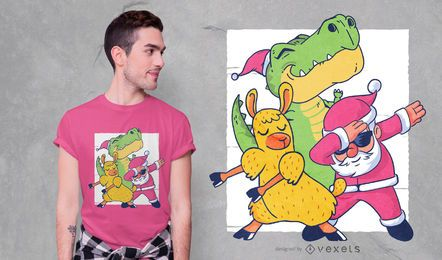 Diseño de camiseta divertida de personajes navideños