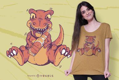 Design de t-shirt de cerveja bebendo T-rex