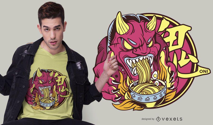 Diseño de camiseta Ramen Oni Demon