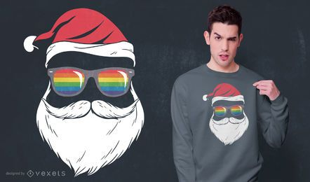 Diseño de camiseta Gay Santa Glasses