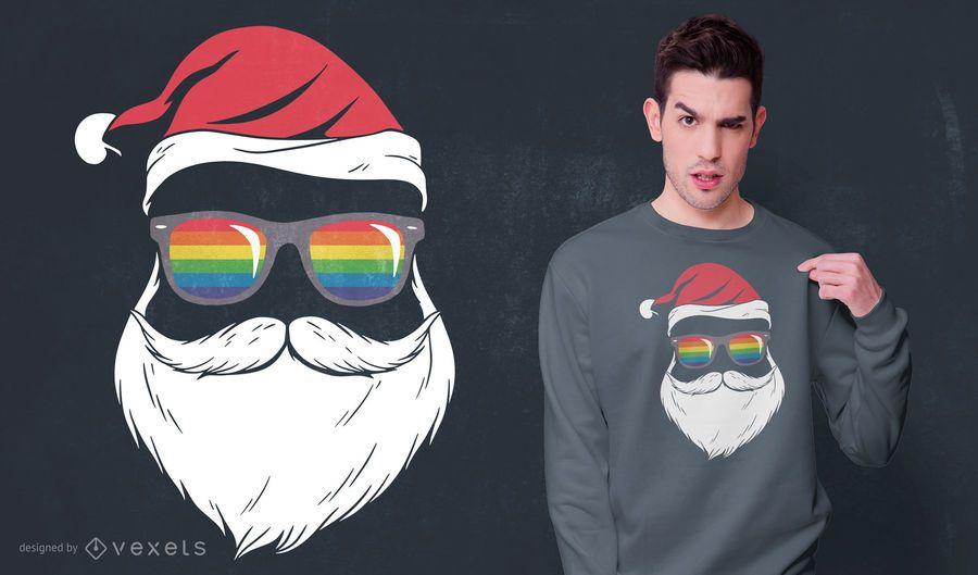 Diseño de camiseta Gay Santa Glasses