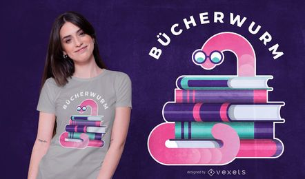PEDIDO-Bookworm German Quote T-shirt Design
