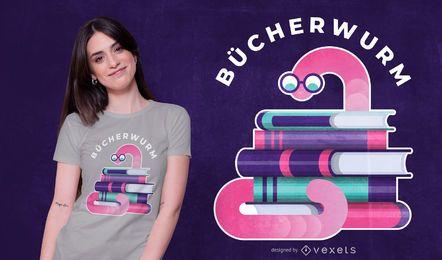 Projeto alemão do t-shirt das citações do PEDIDO-Bookworm