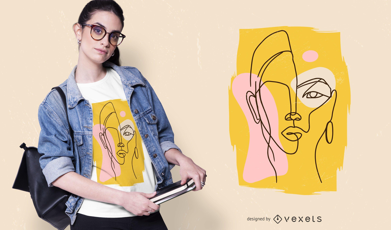 Desenho abstrato de camiseta feminina