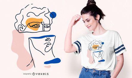 Projeto abstrato do t-shirt da cabeça de David
