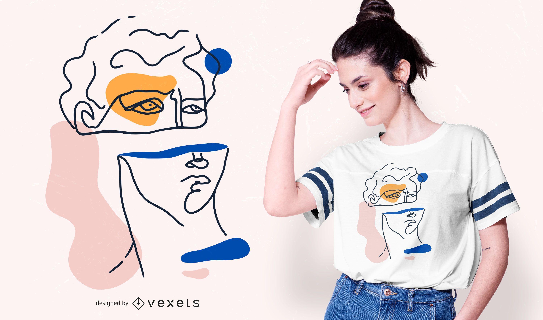 Abstract David Head T-shirt Design