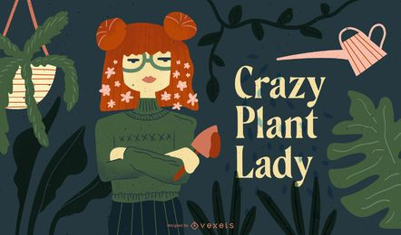 Crazy plant lady illustration