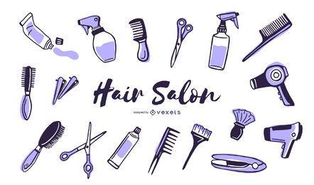 Elementos duotônicos de salão de cabeleireiro