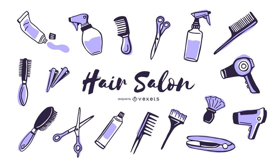 Elementos de duotono de peluquería