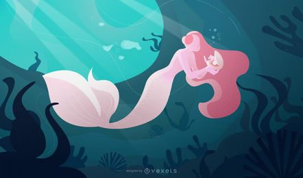 Mermaid ocean illustration