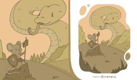 Ilustração de rato vs cobra