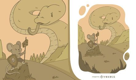 Ilustración de ratón vs serpiente