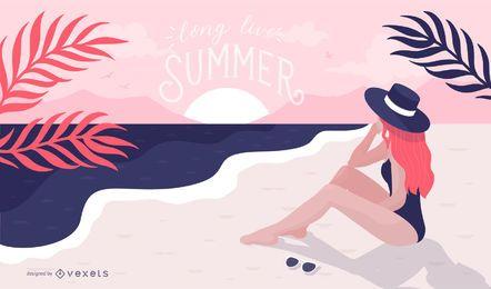 Ilustración de niña de verano