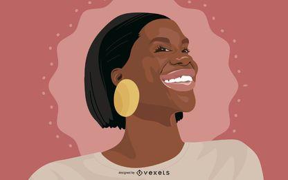 Schwarze Frau Porträt Illustration