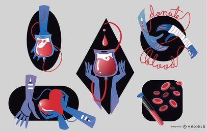 Conjunto de insignias de donación de sangre