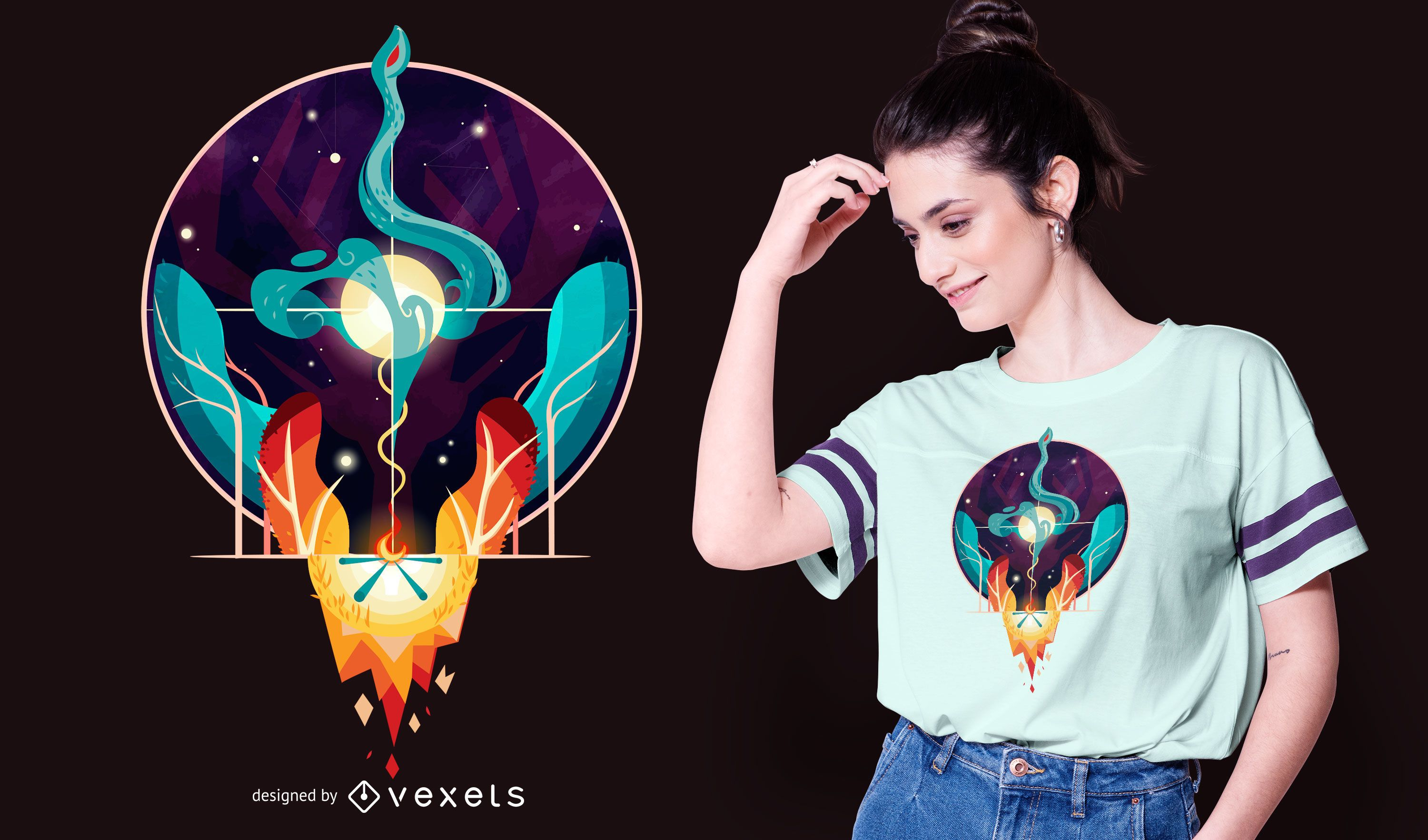 Fire and Water Concept T-shirt Design
