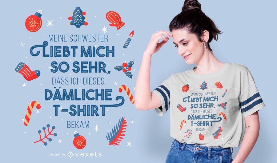 Design de camiseta com citação alemã de Natal