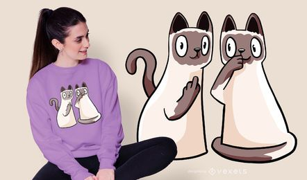 Design de t-shirt de gatos siameses