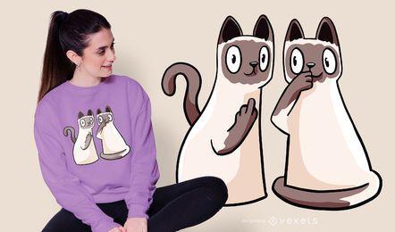 Diseño de camiseta de gatos siameses