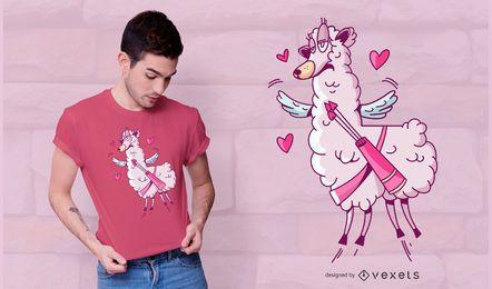 Design de t-shirt de lama dos namorados