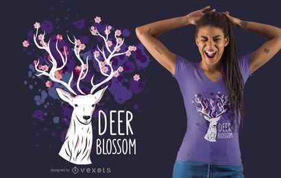 Design de t-shirt de flor de veado
