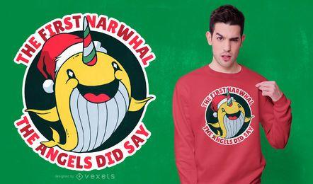 Diseño de camiseta navideña de narval