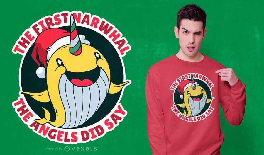 Narwhal Christmas t-shirt design