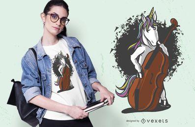 Diseño de camiseta unicornio violonchelo