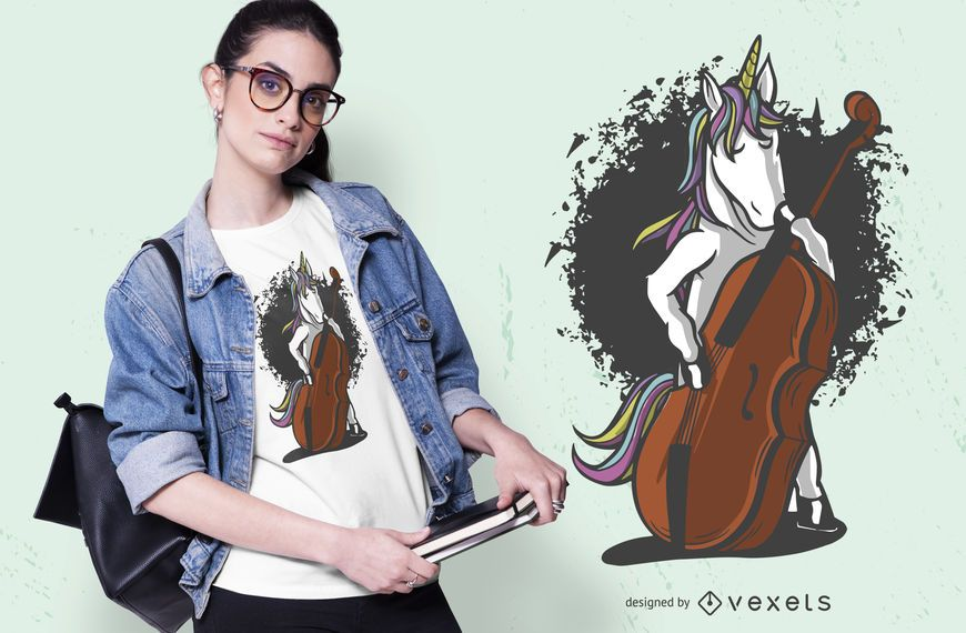 Unicorn cello t-shirt design