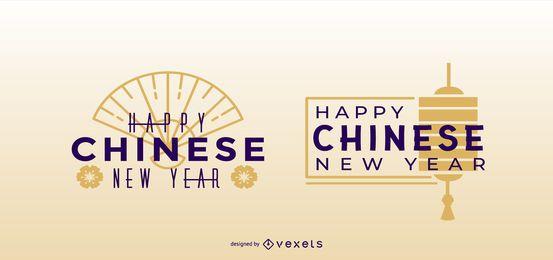 Conjunto de cotización feliz año nuevo chino