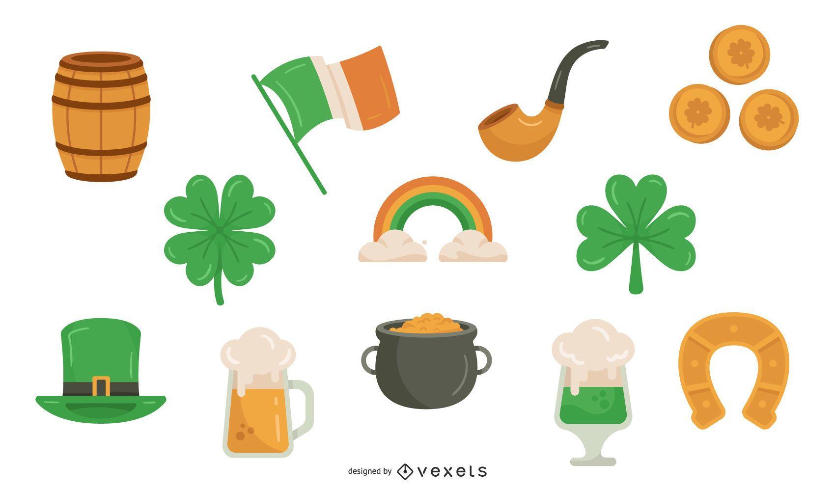 St. Patrick's Day Color Elements Set