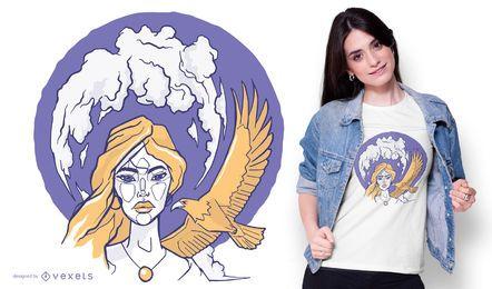 Desenho de t-shirt de mulher e águia