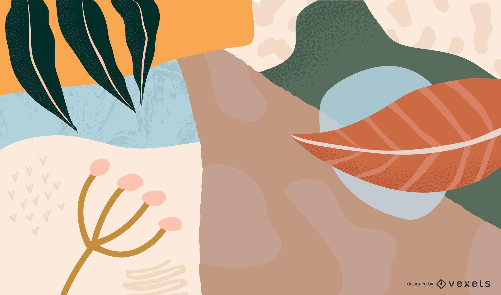 Diseño de fondo de plantas abstractas