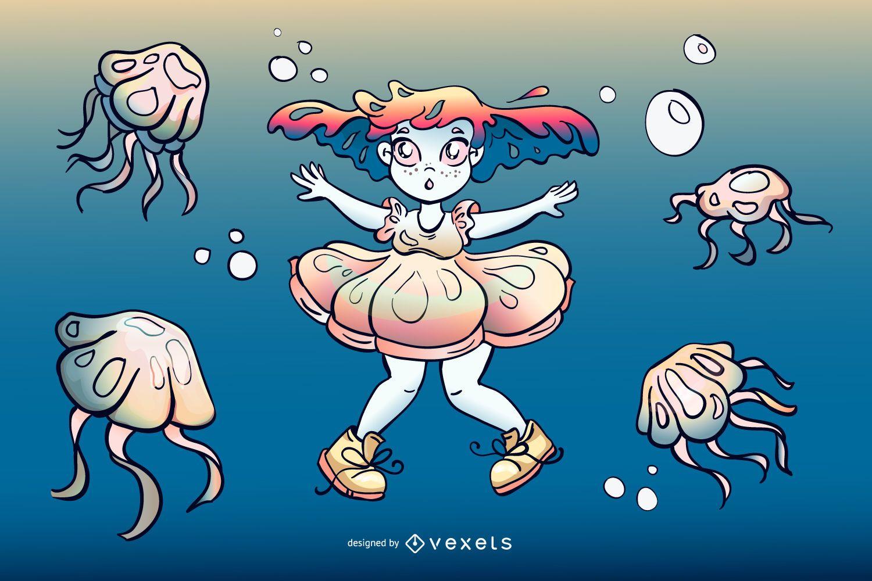 Diseño de ilustración de niña de medusas