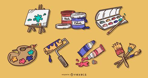 Conjunto de ilustración de color de elemento de artes