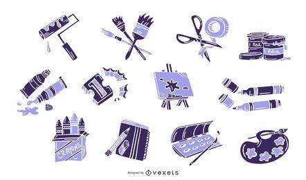 Conjunto de Monocolor de elementos de artes