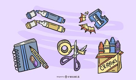 Conjunto de dibujo de elementos de artesanía