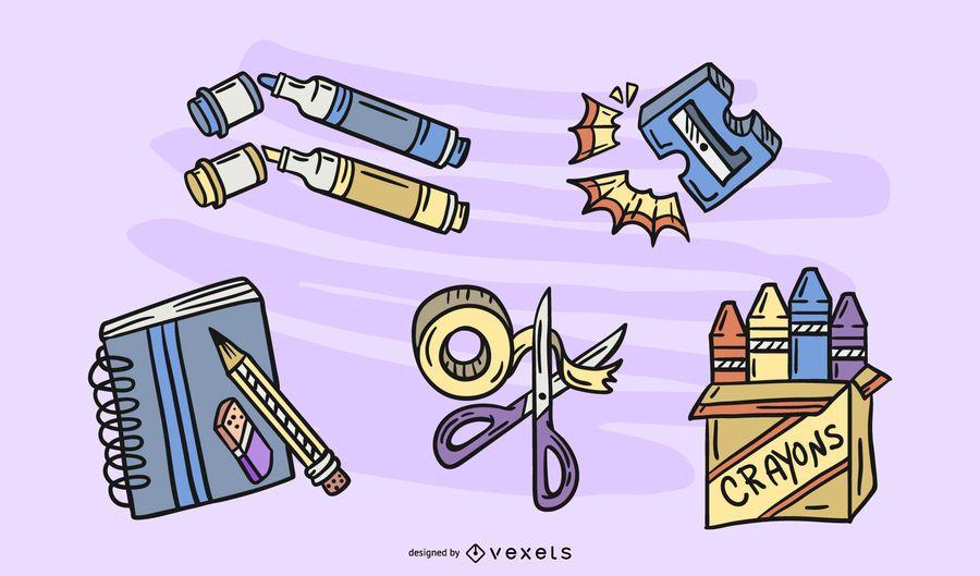 Conjunto de desenho de elementos de elaboração