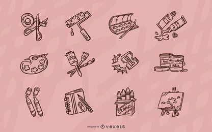 Conjunto de elementos de elaboração de traços