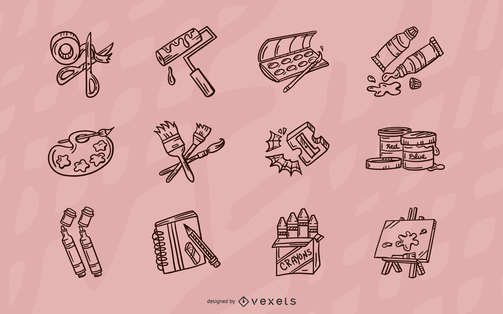 Conjunto de elementos de elaboración de trazos