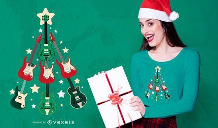 Anfrage-Gitarre Weihnachtsbaum T-Shirt Design
