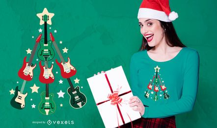 SOLICITUD-Guitarra Christmas Tree T-shirt Design