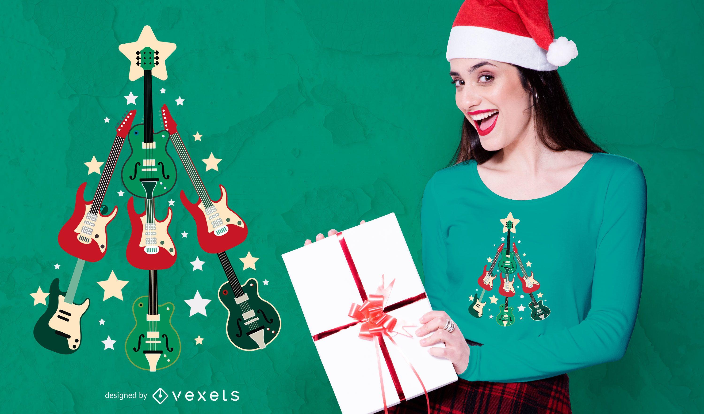 PEDIDO - Design de camiseta com guitarra e árvore de Natal