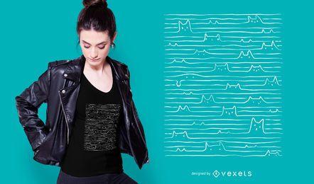 Gekritzel gezeichneter Katzen-T-Shirt Entwurf